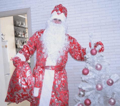Дед Мороз с елочкой и мешком подарков.