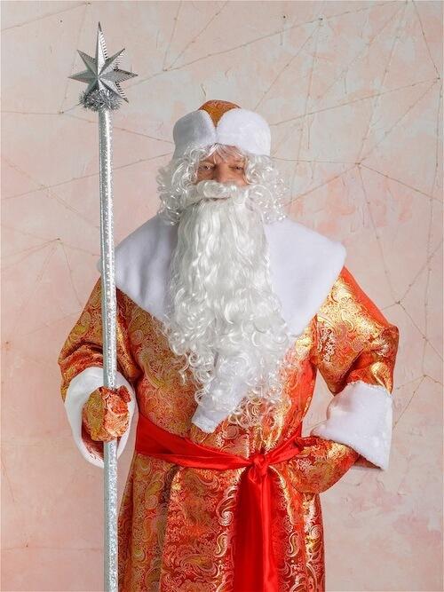 Костюм Деда Мороза Золотой вблизи