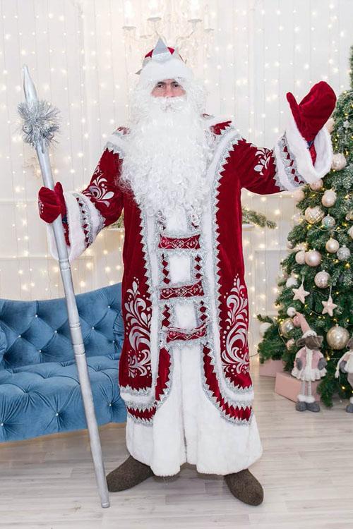 Костюм Деда Мороза Купеческий Бордовый купить в Казани