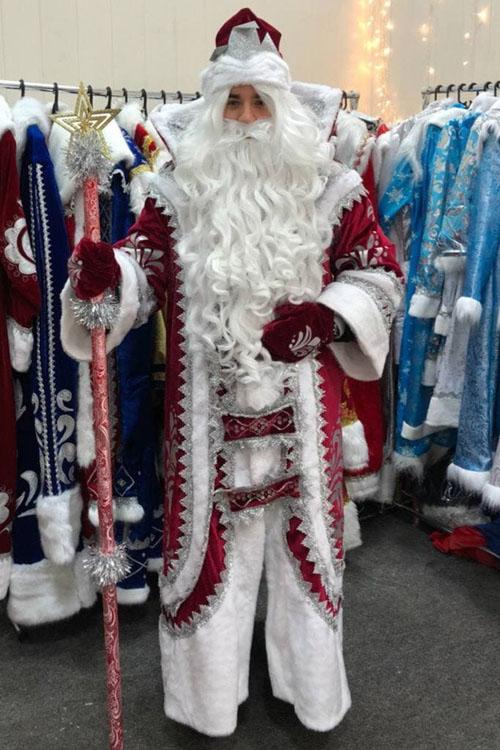 Костюм Деда Мороза Купеческий Бордовый вид спереди