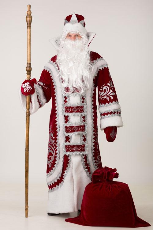 Костюм Деда Мороза Купеческий Бордовый недорогой