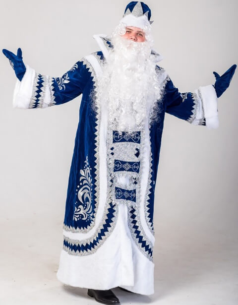 Костюм Деда Мороза Купеческий синий в Казани